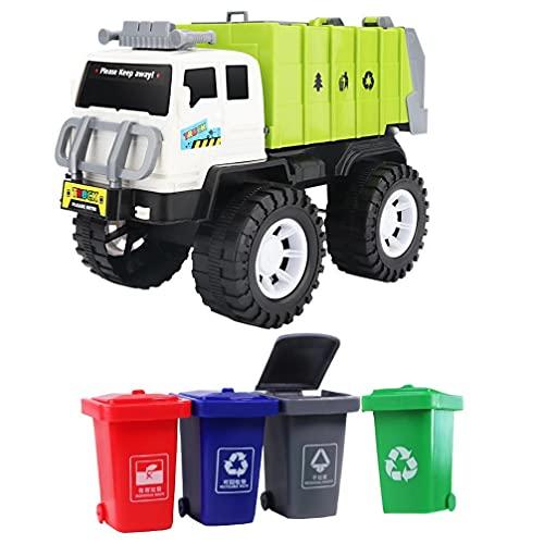 POPETPOP Camión de Basura de Juguete de Gestión de Residuos Eléctricos Camión de Reciclaje de Juguete Verde Camión de Basura con 4 Contenedores de Basura de Carga Trasera Juguete Educativo