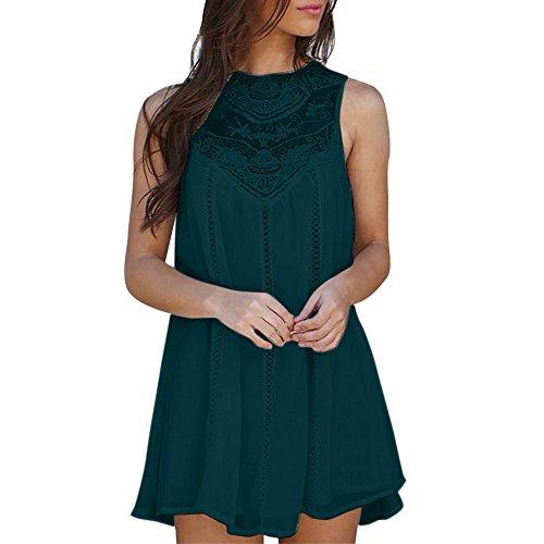 Women Summer Lace Stitching Knee-Length Casual Chiffon Mini Dress Party Night Wedding Dresses Beach Sundress Plus Size