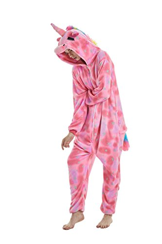 Yuson Mädchen Winter Flanell Einhorn Onesie Pyjamas Erwachsene Unisex Einteiler Cartoon Tier Kostüm Neuheit Weihnachten Cosplay Pyjamas (Rosa Einhorn) - 3