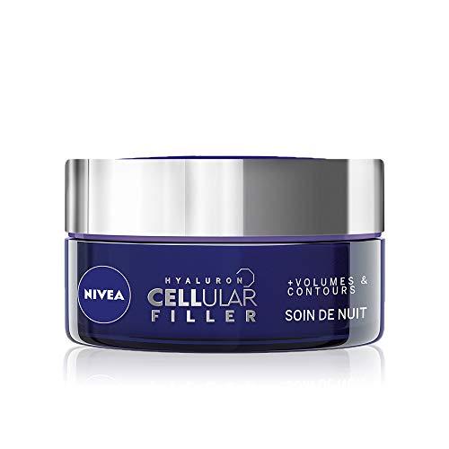 NIVEA Hyaluron Cellular Filler Soin de Nuit +Volumes & Contours (1x50ml), crème anti-âge enrichie en Acide Hyaluronique, soin visage femme pour tous types de peaux