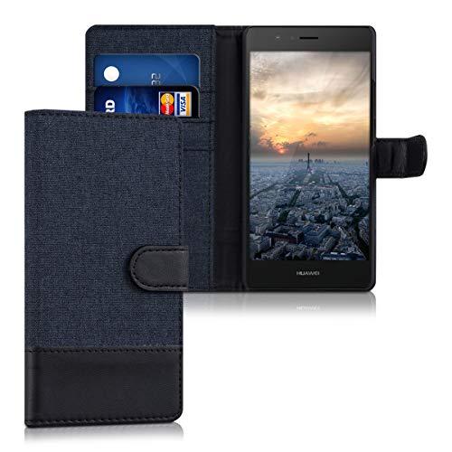 kwmobile Hülle kompatibel mit Huawei P9 Lite - Kunstleder Wallet Case mit Kartenfächern Stand in Dunkelblau Schwarz