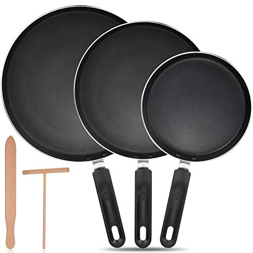 3 Pieces Non-Stick Crepe Pan 8 Inch 95 Inch 11 Inch Nonstick Frying Pan Omelette Pan Pancake Fry Pan with Crepe Spreader and Spatula for Kitchen Cooking