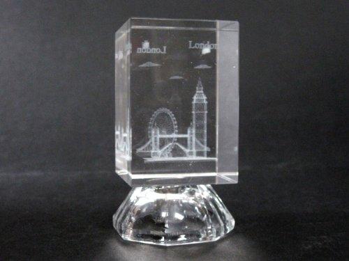 Laser Bloc de cristal vertical souvenir de Londres gravé au laser avec lampe intégrée Motif Big Ben, Tower Bridge et le London Eye