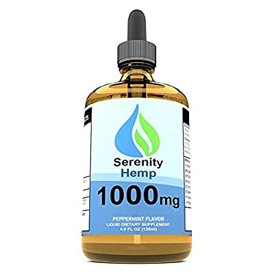 Serenity Hemp Oil for Pain & Anxiety - Relief for Stress, Inflammation, Sleep, Anxiety, Depression, Nausea & More - Rich in Vitamin E, Vitamin B, Omega 3,6,9 - Hemp Extract (4oz 1,000mg Peppermint) by Serenity