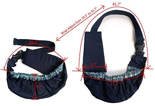 OrgMemory Pet Sling Carrier, Adjustable Sling Bag, Small Dog Cat Outdoor Shoulder Carrier Bag, Most Suitable: 3-10 lbs (Blue Plaid) 3