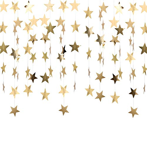 WIFUN 4M Reflective Star Paper Garland, 4 PCS Star Bunting Banner for Wedding Birthday Party Holiday Decorations