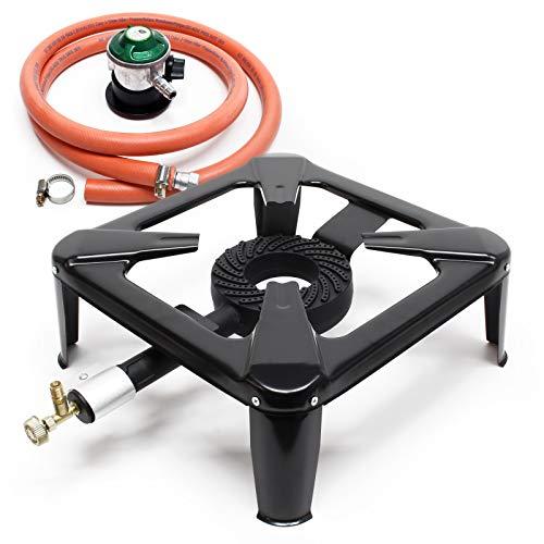 WilTec Set hornillo de Gas para Camping con Manguera y regulador presión 30mbar España Accesorios Outdoor
