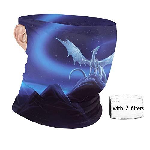 Cartoon Blue Flying Dragon Animal Neck Gaiter, Face Mask Bandanas Ear Loops with Filters, Sun UV Protection Headwear, Scarf Balaclava, Dust Headband for Men Women Rave Festival Outdoor Sport