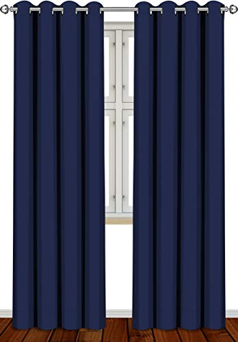 Utopia Bedding 2 Panels Grommet Blackout Curtains Thermal Insulated for Bedroom, W52 x L84 Inches, Navy