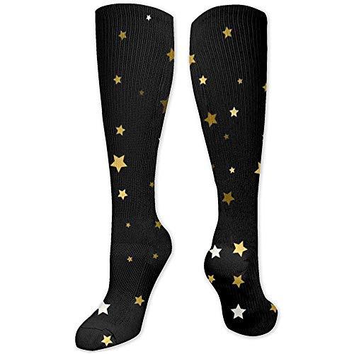 Be-ryl Fondo de calcetín alto con estrellas doradas Estrellas doradas en negro Calcetines sobre la pantorrilla Calcetines de compresión para hombres y mujeres