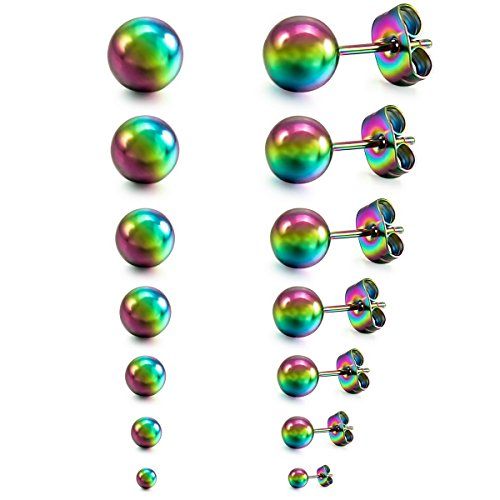MunkiMix 3~8mm 12 Pieza Acero Inoxidable Semental Pendientes Multicolor Bola Bola Bead Conjunto Set (6 Coppiaes) Hombre,Mujer