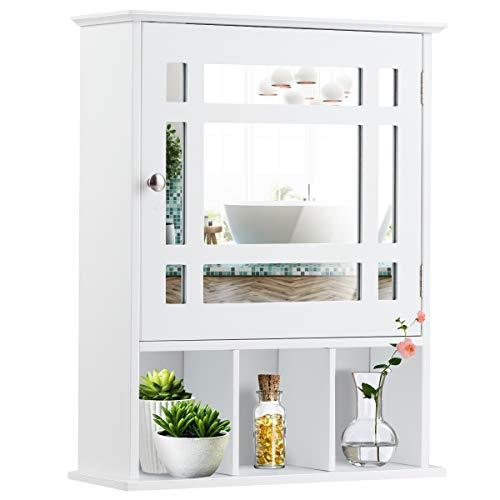 GIANTEX Hängeschrank mit Spiegel, Spiegelschrank Wandschrank eintürig, Badschrank Badezimmerschrank mit verstellbarem Einlegeboden & 3 offenen Fächern, 50 x 16 x 61 cm, weiß