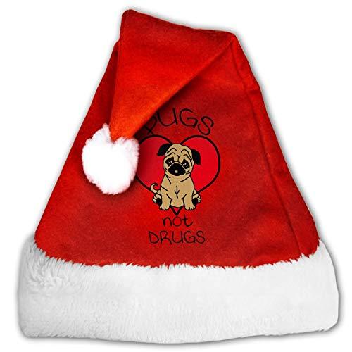 Niedlicher Einhorn-Kot-Weihnachtsmann-Mütze, bequem, rot und weiß, Plüsch-Samt, Weihnachtsparty-Hut Gr. M, 4