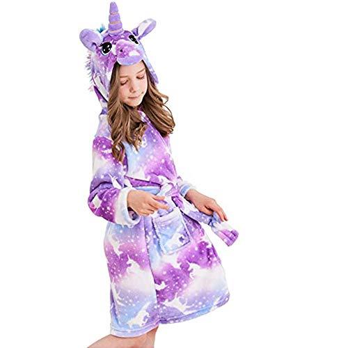 Ruiuzioong Kinder Sanft Einhorn Kapuzenbademantel Mit Kapuze Bademantel Nachtwäsche Einhorn-Geschenke für Mädchen (Purple Pegasus, 6-7 Jahre)