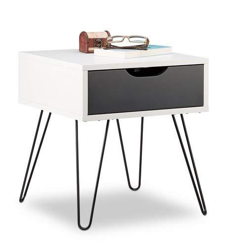 Relaxdays Nachttisch mit Schublade, modernes Design, eckiges Nachtschränkchen, HxBxT: 44 x 40 x 40 Zentimeter, grau, schwarz-weiß, Standard