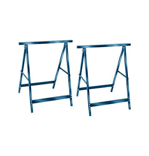 Brennenstuhl Doppelpack Stahl-Arbeitsböcke Unterstellbock MB110, 2er Set, blau