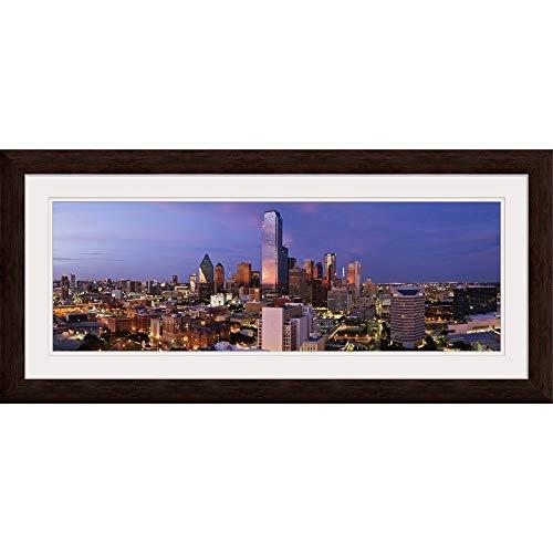 GREATBIGCANVAS Dallas Skyline at Dusk, Texas Espresso Framed Wall Art Print, Dallas Home Decor, 36