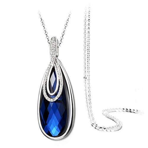 guodong Colgantes Y Collares De Borla De Cristal Grande De Flor Blanca Azul Elegante para Mujer Collar De Cadena De Suéter Maxi Geométrico Geométrico