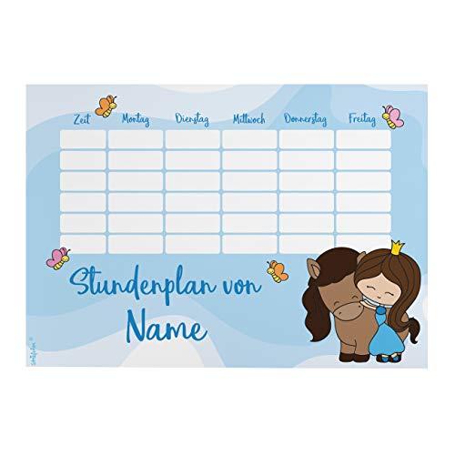 Striefchen® Magnetischer Stundenplan mit Namen für Mädchen zum Beschriften - perfekt zum Schulanfang Prinzessin mit Pony