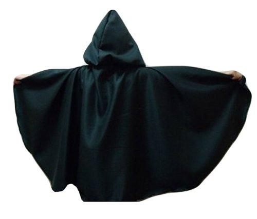 Merlins Medieval Closet Grande cape à capuche pour enfant style Seigneur des anneaux Frodon Legolas Vert foncé