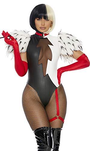 Forplay Women's 3Pc. Sexy Movie Villain Character Costume, Black White, S/M