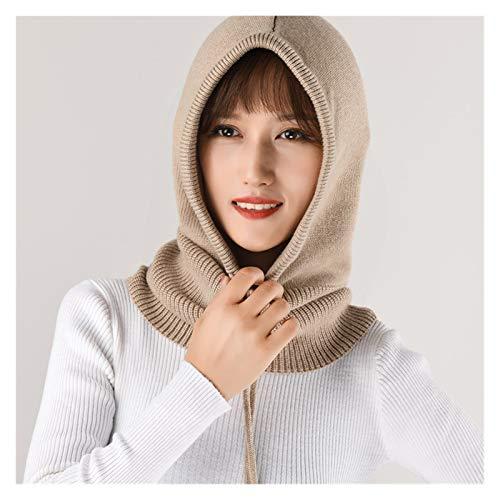 XXY Heat Holders Women's Wool Knitting Soft Hood Hat Scarf Elegant Hats Beanies Winter Neck Warm Balaclava Headgear Caps (Color : Camel)