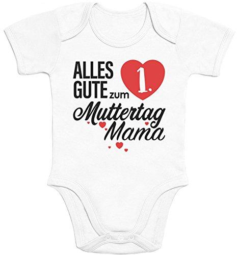 Shirtgeil Muttertagsgeschenk - Alles Gute zum 1. Muttertag Mama Baby Body Kurzarm-Body - 6-12M - Weiß