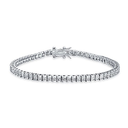 Bling Jewelry Bridal 10CT Simple Classic Cubic Zirconia Square Clear Brilliant Princess Cut AAA CZ Tennis Bracelet for Women for Prom 925 Sterling Silver