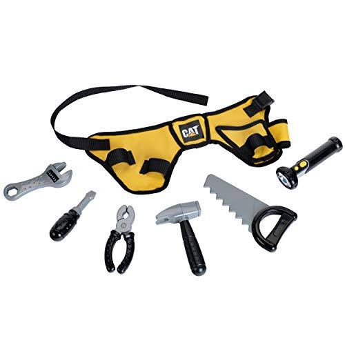 Theo Klein 3222 CAT Werkzeuggürtel mit batteriebetriebener Taschenlampe, 7-teilig, Spielzeug,...