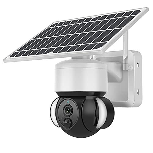 WiFi Camear al aire libre, Cámara de seguridad de la batería del panel solar al aire libre, 5MP PTZ cámara IP inalámbrica, Cámara de luz de reflector de seguimiento automático de cámaras de seguridad