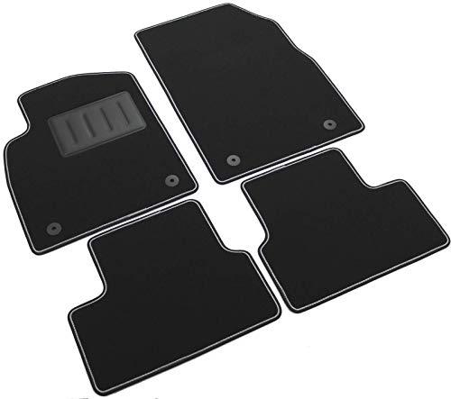 Il Tappeto Auto SPRINT03405 Auto-Fußmatten aus Teppichmaterial, schwarz, rutschfest, zweifarbiger Rand, Absatzschoner aus Gummi für Opel