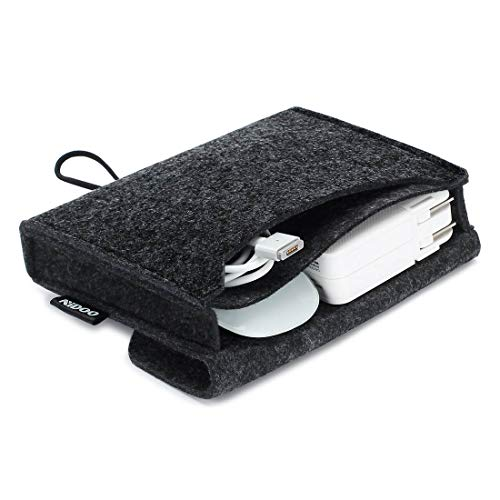 NIDOO Felt Storage Pouch Bag Case for Accessory (Mouse, Cellphone, Cables, SSD, HDD Enclosure, Power Bank and More) - 6.3 inch, Dark Gray