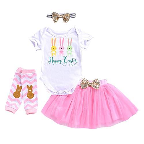 Tonsee Tenues pour Filles, Cute Toddler Baby Manches Courtes Lettre Romper Tops + Pantalon Floral + Bandeaux Ensemble