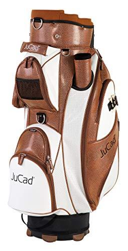 JuCad Bag Style I Golftasche I Außentasche I Schirmfach I Farbe Braun-weiß