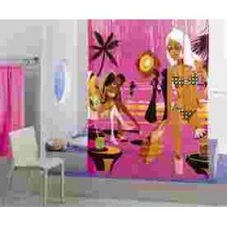 Duschvorhang 'MIAMI' 180x200 cm - Strandbar-Motiv in Pink - GELCO DESIGN