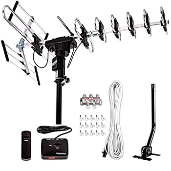 [Newest 2020] Five Star Outdoor Digital Amplified HDTV Antenna - up to 200 Mile Long Range,Directional 360 Degree Rotation,HD 4K 1080P FM Radio Supports 5 TVs Plus Installation Kit and Mounting Pole