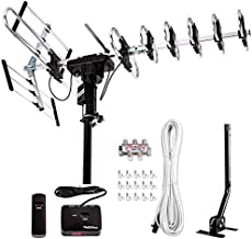 [Newest 2020] Five Star Outdoor Digital Amplified HDTV Antenna - up to 200 Mile Long Range,Directional 360 Degree Rotation,HD 4K 1080P FM Radio, Supports 5 TVs Plus Installation Kit and Mounting Pole