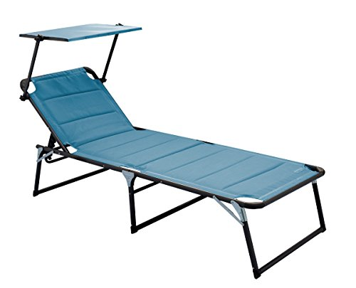 Meerweh Aluminium Gartenliege XXL mit Dach Dreibeinliege gepolstert mit Quick Dry Foam Sonnenliege, Blau, 200 x 70 x 37,5 cm