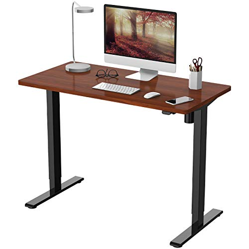FLEXISPOT 電動式スタンディングデスク(幅120×奥行60) 昇降デスク 高さ調節デスク パソコンデスク 人間工学 ゲーミングデスク EG1 セット(足黒+天板マホガニー)