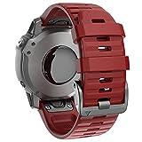 ANBEST Silicona Pulsera Compatible con Fenix 6X/Fenix 5X/Fenix 5X Plus/Fenix 6X Pro Correa, 26mm Repuesto de Liberación Rápida Deporte Correa para Fenix 3/3 HR Smart Watch, Rojo