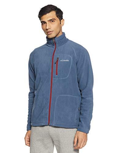 Columbia Fleecejacke für Herren, Fast Trek II Full Zip Fleece, Polyester, Blau (Dark Mountain/Red Element), Gr. L, 1420421