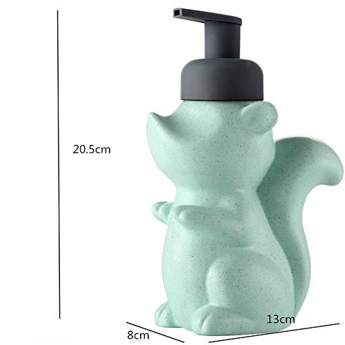 ASDQW Seifenspender,Shampoo Flasche Grün Eichhörnchen Tierform Behälter Mit Schwarzer Handpumpendüse Leicht Zu Füllen Auf Badezimmer Hotelküche Auftragen