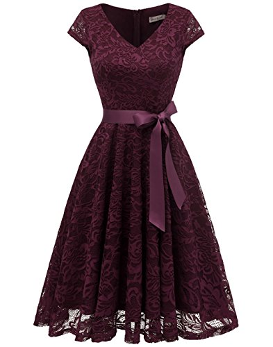 BeryLove Damen V-Ausschnitt Kurz Brautjungfer Kleid Cocktail Party Floral Kleid BLP7006BurgundyM