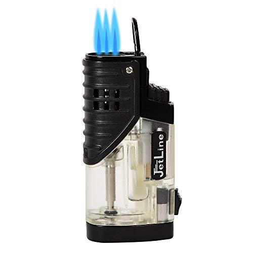 Lighter Triple Flame Torch Jetline Patriot Features a Cigar Punch- Cutter Amazing Quality (Black) …