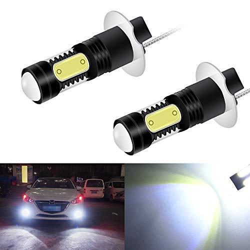 2 Unidades H3 LED Alto Brillo Aluminio Luz de Niebla 7.5W COB 1500 Lúmenes 12V Bombilla de Luz Antiniebla Coche Luces Corrientes DRL Xenon Blanco 6000k