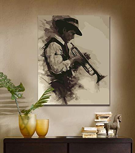 Yqgdss DIY EIN Mann Spielt Die Trompete Bild Ölgemälde by Zahlen Zeichnung Handgemalte Einzigartige Kits Färbung Dekor Digitale Leinwand Geschenk Gedruckt Wandkunst, Holzrahmen-40x50cm