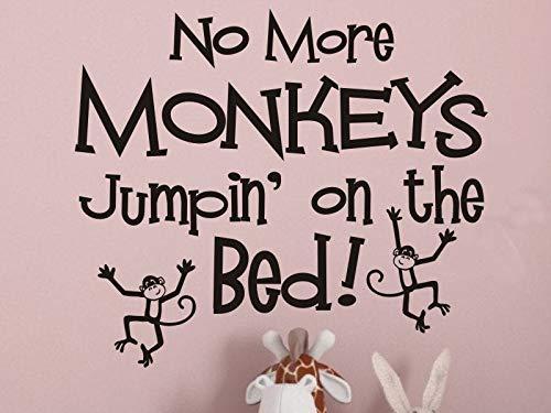 Autocollant mural pour chambre d'enfant avec inscription No More Singes Jumpin on the Bed en vinyle pour chambre d'enfant Chambre de garçons et filles