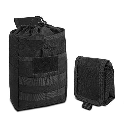 CS Force Molle Dump Pouch, Drawstring Magazine Mag Dump Pouch, Tactical Roll Up Utility Pouch Waist Bag, 1000D Nylon, Black