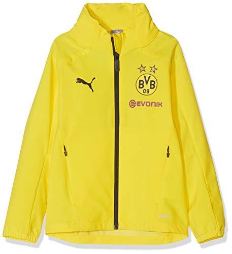 PUMA Kinder BVB Rain Jacket Jr with Sponsor Logo Regenjacke, Cyber Yellow Black, 140