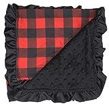 Dear Baby Gear Baby Blankets, Lumberjack Buffalo Plaid, Black Minky, Black Ruffle, 32 Inches by 32 Inches